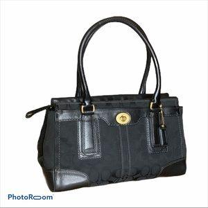 Coach Hampton Signature Black Carryall satchel EUC